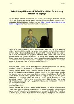 Askeri Sosyal Hizmette Kültürel Karşılıklar: Dr. Anthony