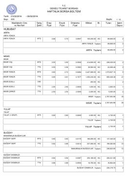 05 Şubat Haftalık Bülten - Denizli Ticaret Borsası