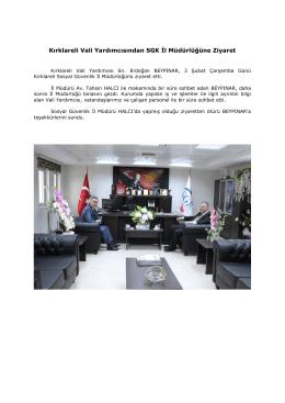 Kırklareli Vali Yardımcısından SGK İl Müdürlüğüne Ziyaret