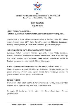 T.C. DEVLET DEMİRYOLLARI İŞLETMESİ GENEL