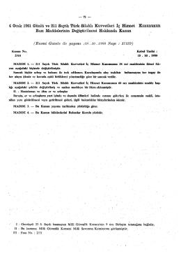 4 Ocak 1961 Günlü ve 211 Sayılı Türk Silahlı Kuvvetleri İç