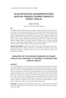 islam entelektüel geleneğinde iktisadi boyutun teşekkülü: şeybânî