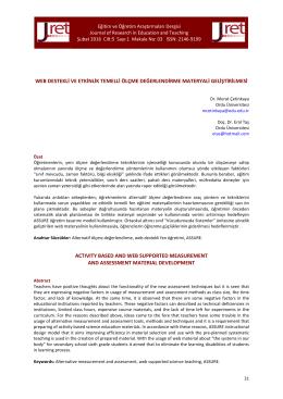 web destekli ve etkinlik temelli ölçme değerlendirme materyali