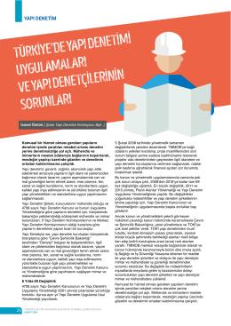 türkiye`de yapı denetimi uygulamaları ve yapı denetçilerinin