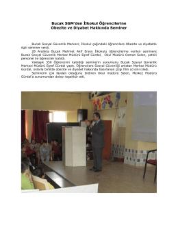 Bucak SGM`den İlkokul Öğrencilerine Obezite ve Diyabet