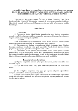 2015-2016 Öğretim Yılı Yatay Geçiş..