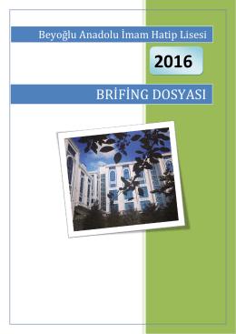 2015-2016 Brifing Dosyası - Beyoğlu Anadolu İmam Hatip Lisesi