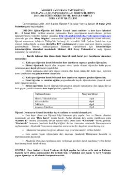 2015-16 Bahar Yarıyılı Kayıt Yenileme İşlemleri
