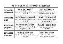 08-14 ŞUBAT 2016 NÖBET ÇİZELGESİ DEMET ECZANESİ