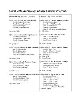 Şubat-2016 Kardiyoloji Kliniği ヌalışma Programı