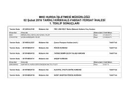 02 Şubat 2016 TARİHLİ KIRIKKALE-FABSAT