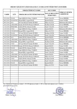 2015-2016 şubat ayı belletici listesi