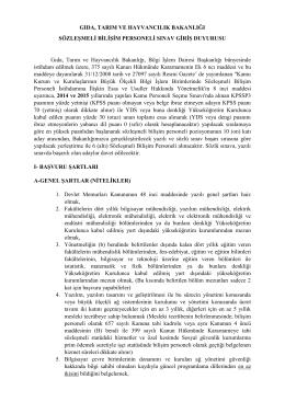 Bilişim Personeli - Gıda, Tarım ve Hayvancılık Bakanlığı