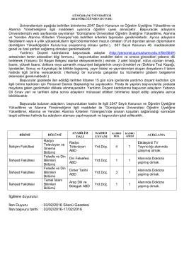 Gümüşhane Üniversitesi Öğretim Üyesi Alım İlanı (03