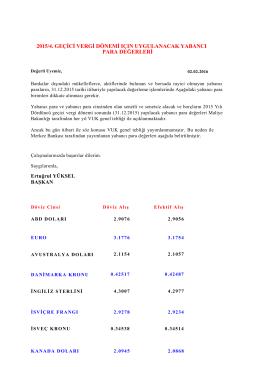 2015/4. geçici vergi dönemi ıçın uygulanacak yabancı para değerleri