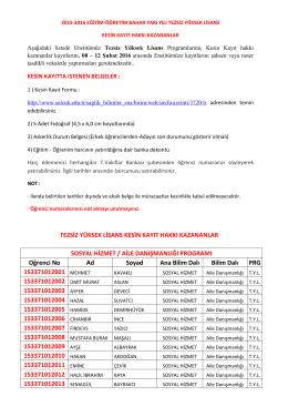 2015-2016 Bahar Yarıyılı II. Öğretim Tezsiz Yüksek Lisans Sonuçları