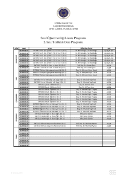 Sınıf Öğretmenliği Lisans Programı 2. Sınıf Haftalık Ders
