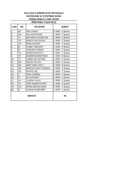6/f sınıf listesi - BARTIN / MERKEZ