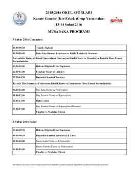 2015-2016 OKUL SPORLARI 13-14 Şubat 2016 Karate Gençler (Kız