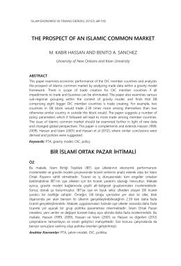 the prospect of an ıslamıc common market bir islami ortak pazar