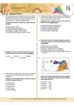 Bölgesel Planlar - Ölçme, Değerlendirme ve Sınav Hizmetleri Genel