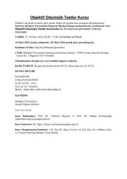 MAR 19 Objektif Odyolojik Testler Kursu