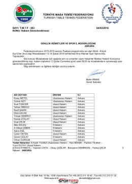 ANKARA - Türkiye Masa Tenisi Federasyonu
