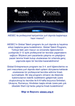 AIESEC Global Talent&Global Entrepreneurs Programları
