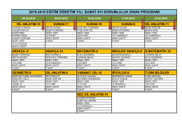 2015-2016 eğitim öğretim yılı şubat ayı sorumluluk sınav programı