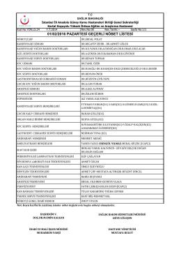 01.02.2016 - Kartal Koşuyolu Yüksek İhtisas Eğitim ve Araştırma