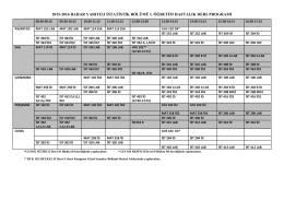 2015-2016 bahar yarıyılı istatistik bölümü ı. öğretim haftalık ders