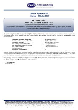 JCR Eurasia Rating, Aynes Gıda Sanayi ve Ticaret A.Ş.