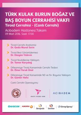 Canlı Cerrahi - Türk Kulak Burun Boğaz ve Baş Boyun Cerrahisi Vakfı