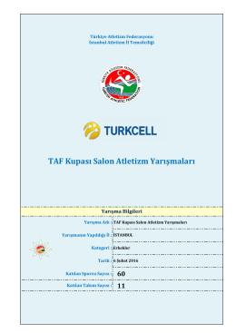Taf Kupası Erkekler Sonuçları - Türkiye Atletizm Federasyonu