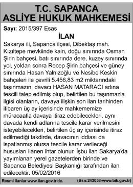 T.C. SAPANCA ASLİYE HUKUK MAHKEMESİ