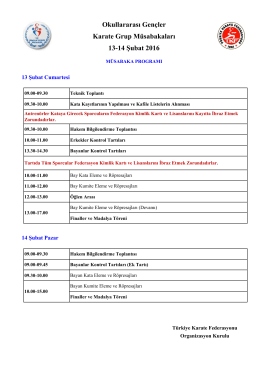 Program - Türkiye Karate Federasyonu