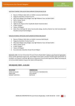 TUS Başvurusu - Personel Dairesi Başkanlığı
