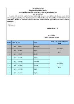 29/11/2015 Tarihinde Yapılan Personel Müdürlüğü Sınavının Yazılı