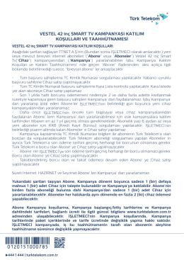 Vestel 42FA7500 Smart Tv kampanyası TTNET - Bireysel