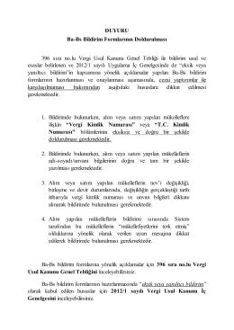 DUYURU Ba-Bs Bildirim Formlarının Doldurulması 396