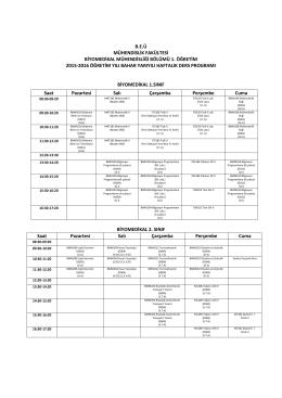 2015-2016 Bahar Dönemi Ders Programı - BEÜ