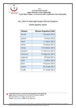EK-1: 2016 Yılı Teşhis İlişkili Gruplar (TİG) Veri Gönderimi Dönem