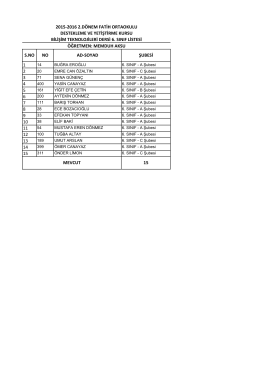 6 genel sınıf liste - BARTIN / MERKEZ