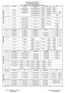 2015–2016 Bahar Yarıyılı I. Öğretim Haftalık Ders Programı