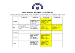 15-16 BAHAR BİLİMSEL HAZIRLIK DERS PROGRAMI