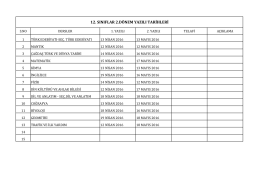 12. sınıflar 2.dönem yazılı tarihleri