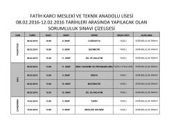 şubat 2016 sorumluluk sınavı sınav takvimi 2016-02