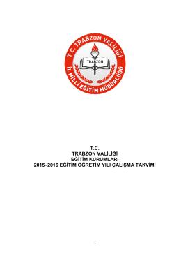 2015-2016 Eğitim Öğretim Yılı Çalışma Takvimi Güncellendi