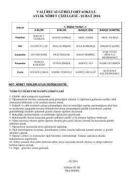 öğretmen nöbet listesi - MUĞLA / FETHİYE