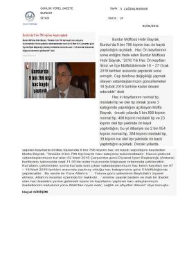 03/02/2016 Sayfa : 3 ÇAĞDAŞ BURDUR